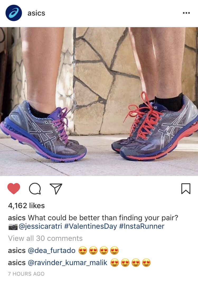 asics valentines day holiday social media campaigns